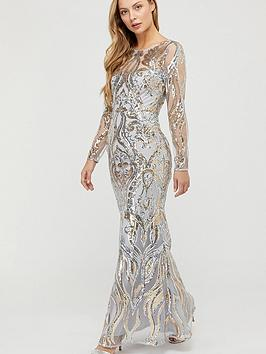 Monsoon Monsoon Lily Gold Sequin Maxi Dress - Silver Picture
