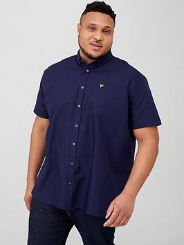 lyle-scott-big-amp-tall-short-sleeved-oxford-shirt-navy