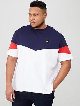 Lyle & Scott Lyle & Scott Big &Amp; Tall Panel T-Shirt - White/Navy Picture