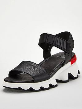 Sorel Sorel Kinetic Sporty Low Leather Wedge Sandal - Black Picture