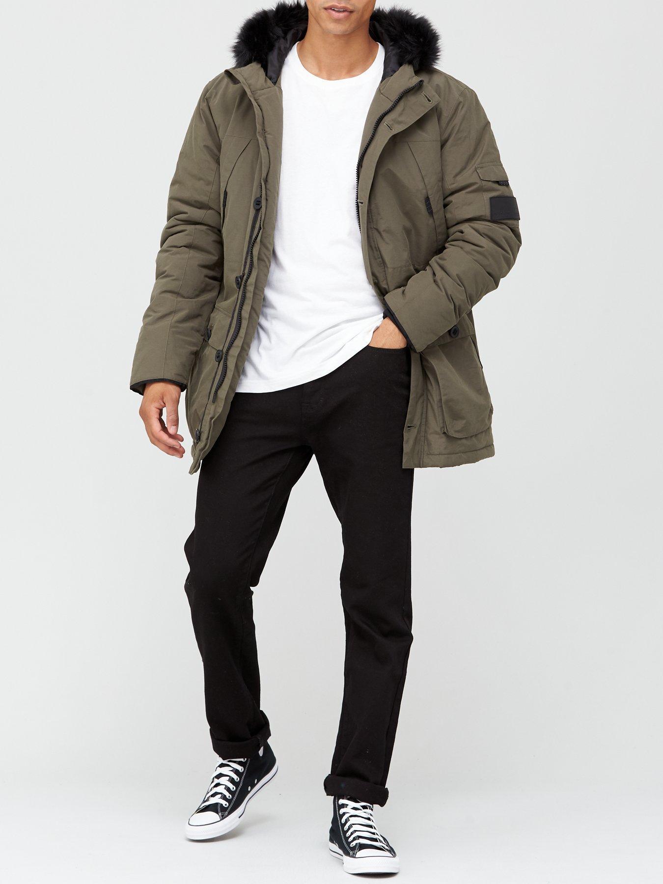 Ellesse Faux Fur Parka Jacket Men Warm Hooded Padded Winter Coat Reflective Grey