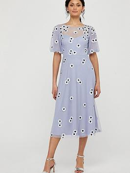 Monsoon Bryony Embellished Daisy Dress - Lilac
