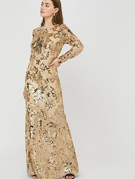 Monsoon Monsoon Long Sleeve Sequin Maxi Dress - Rose Gold Picture