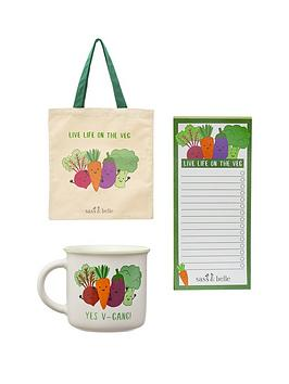Sass & Belle Sass & Belle Live Life On The Veg Tote Bag, Mug And Notebook Picture