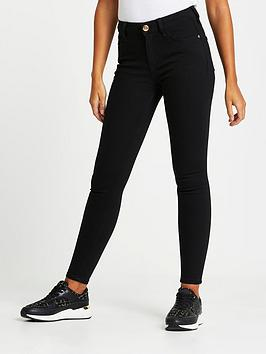 River Island River Island Amelie Mid Rise Black Washed Super Skinny Jeans  ... Picture