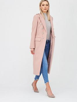 River Island River Island Double Breasted Military Coat - Light Pink Picture