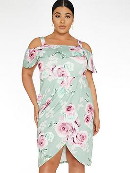 Quiz Curve Quiz Curve Floral Wrap Bardot Dress - Sage Green Picture