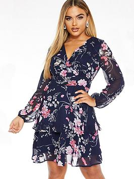 Quiz Quiz Floral Wrap Balloon Sleeve Tiered Dress - Blue Picture