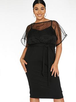 Quiz Curve Quiz Curve Organza Batwing Midi Dress - Black Picture