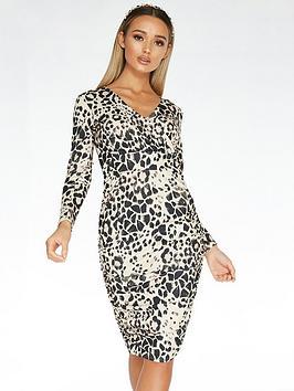 Quiz Quiz Scuba Crepe Animal Print Long Sleeve Wrap Ruched Side Midi Dress  ... Picture