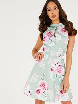 Quiz Quiz Quiz Floral Keyhole Skater Dress - Sage Picture