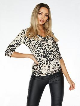 Quiz Quiz Scuba Crepe Animal Print Long Sleeve Wrap Ruched Side Top - Stone Picture