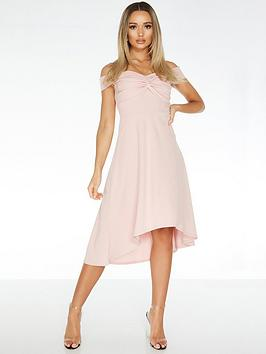 Quiz Quiz Scuba Crepe Bardot Knot Dip Hem Dress - Blush Pink Picture