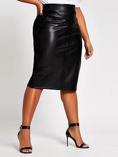 ri-plus-ri-plus-faux-leather-ponte-mix-pencil-skirt-black
