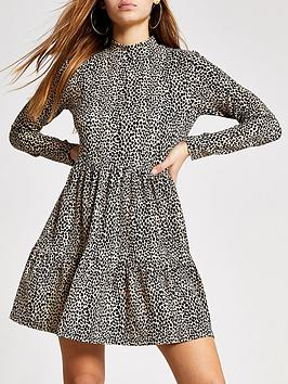 RI Petite Ri Petite Ri Petite Animal Print Jersey Smock Dress - Brown Picture