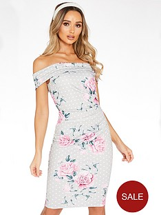 quiz-polka-dot-floralnbspbardot-midi-dress-grey
