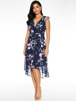 Quiz Quiz Floral Frill Front Dip Hem Midi Dress - Blue Picture