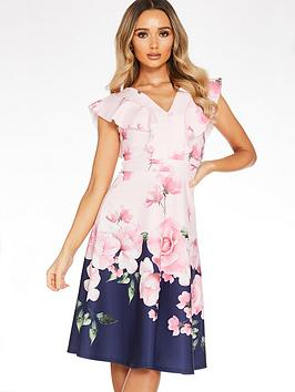 Quiz Quiz Floral Print V-Neck Frill Skater Dress - Navy/Floral Picture