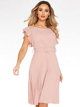 Quiz Quiz Frill Front Pleated Midi Dress With Belt - Blush Pink Picture