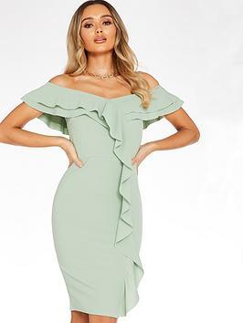 Quiz Quiz Scuba Crepe Bardot Frill Front Midi Dress - Sage Green Picture