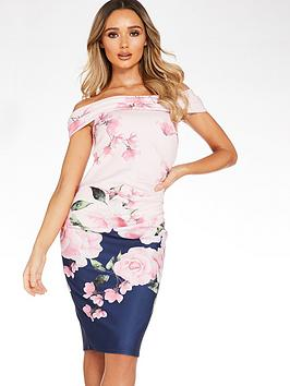 Quiz Quiz Print Ruched Detail Bardot Dress - Navy Floral Picture