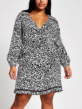 RI Plus Ri Plus Printed Smock Dress-Black Picture