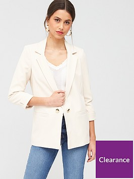 river-island-turn-up-cuff-blazer-bone