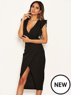 ax-paris-printed-frill-midi-bodycon-dress-black