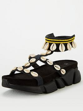 V by Very V By Very Hibiscus Shell Trim Sporty Sandals - Black Picture
