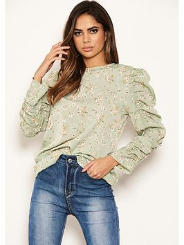AX Paris Ax Paris Frill Sleeved Printed Top - Mint Picture