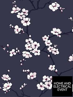 fresco-apple-blossom-navy-wallpaper