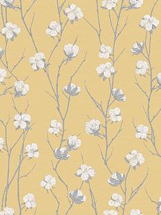 superfresco-cotton-flower-ochre-wallpaper