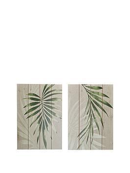 Graham & Brown Set 2 Peaceful Palms On Wood