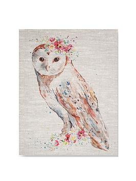 Graham & Brown Graham & Brown Watercolour Floral Owl Canvas Picture