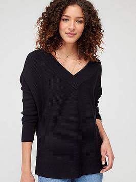 V by Very V By Very V-Neck Slouchy Knitted Top - Black Picture