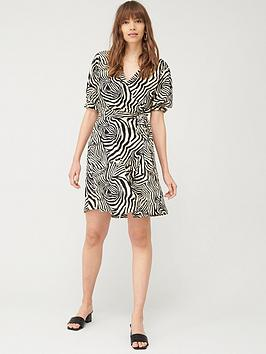 V by Very V By Very Wrap Front Tie Waist Tea Dress - Animal Picture