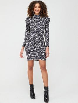 V by Very V By Very Long Sleeve High Neck Gather Detail Dress - Black  ... Picture