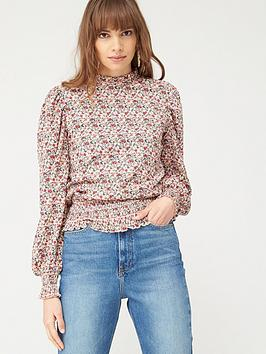 V by Very V By Very Floral Ruched Hem Blouson Sleeve Top - Ditsy Picture