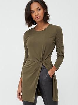 V By Very Soft Touch Twist Detail Tunic - Khaki