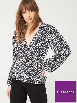 v-by-very-wrap-ruched-waist-top-monochrome-print