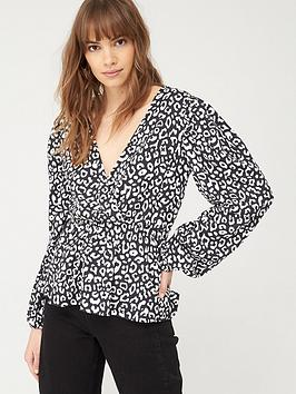 V by Very V By Very Wrap Ruched Waist Top - Monochrome Print Picture