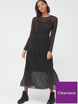 v-by-very-long-sleeve-mesh-tiered-maxi-dress-black