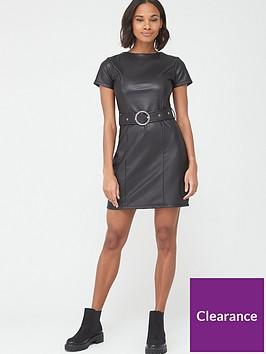 v-by-very-short-sleeve-pu-belted-dress-black