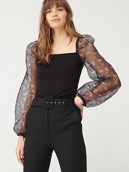V by Very V By Very Floral Organza Long Sleeve Top - Black Picture