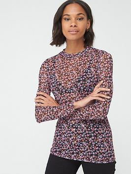 V by Very V By Very Mesh High Neck Top - Ditsy Floral Picture