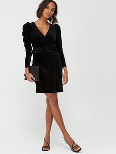 v-by-very-long-sleeve-cord-belted-dress-black
