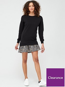 v-by-very-long-sleeve-frill-hem-sweat-dress-black-animal-print