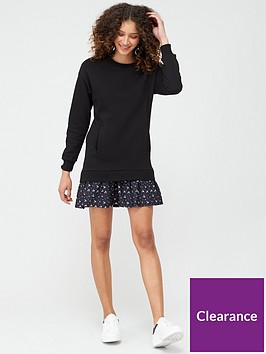 v-by-very-long-sleeve-frill-hem-sweat-dress-black-floral
