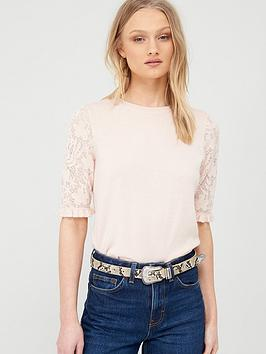 Oasis  Frill Detail Knitted Jumper - Pale Pink