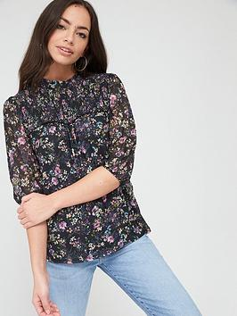 Oasis Oasis Smudgy Floral Balloon Sleeve Mesh Top - Multi Blue Picture
